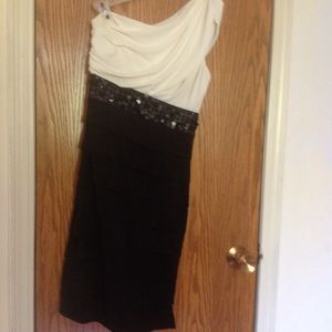 Black and white evening dress